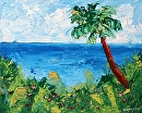 "Abstract Hawaiian Coast with Palm Tree Palette Knife Painting by Northern California Artist Mark Webster by Mark Webster Acrylic ~ 8"" x 10"""