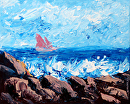"Sailboat Entering the Bay Palette Knife Acrylic Painting by Northern California Artist Mark Webster by Mark Webster Acrylic ~ 8"" x 10"""