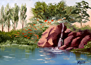 "Small Waterfall in the Spring Landscape Oil Painting by Northern California Artist Mark Webster by Mark Webster Oil ~ 5"" x 7"""