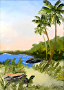 "Hawaiian Coast with Palm Trees #1 Landscape Oil Painting by Northern California Artist Mark Webster by Mark Webster Oil ~ 7"" x 5"""