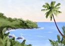 "Hawaiian Coast 5x7"" Landscape Oil Painting by Northern California Artist Mark Webster by Mark Webster Oil ~ 5"" x 7"""