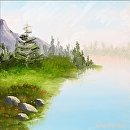 "Misty Lake of the Pines Landscape Oil Painting by Northern California Artist Mark Webster by Mark Webster Oil ~ 6"" x 6"""