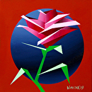 "Abstract Geometric Rose #3 Acrylic Painting by Mark Webster Acrylic ~ 6"" x 6"""