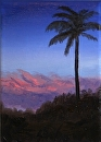 Study for Palm Tree at Sunset Landscape Oil Painting by Northern California Artist Mark Webster by Mark Webster Oil ~ 7 x 5