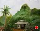 House in Kauai Landscape Oil Painting by Artist Mark Webster by Mark Webster Oil ~ 12 x 16
