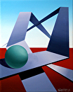 "Abstract Geometric Sphere Track #2 Acrylic Painting by Mark Webster Oil and Acrylic (Mixed Media) ~ 10"" x 8"""