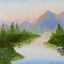 """Mountain Oil Painting Series #4 by Artist Mark Webster by Mark Webster Oil ~ 6"""" x 6"""""""
