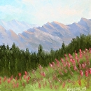 "Mountain Oil Painting Series #1 by Artist Mark Webster by Mark Webster Oil ~ 6"" x 6"""