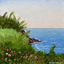 "Tropical Ocean Overlook 6x6"" Landscape Oil Painting by Northern California Artist Mark Webster by Mark Webster Oil ~ 6"" x 6"""