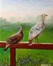 "Wild Turkeys in the Foothills Oil Painting by Artist Mark Webster by Mark Webster Oil ~ 10"" x 8"""