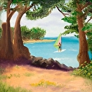 "The Windsurfer in Kauai Oil Painting 241 by Artist Mark Webster by Mark Webster Oil ~ 10"" x 10"""