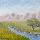 "Mountain Oak Tree by the Creek in Spring Oil Painting by Northern California Artist Mark Webster by Mark Webster Oil ~ 6"" x 6"""