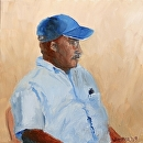 """Man Resting in Metal Chair Oil Painting by Artist Mark Webster by Mark Webster Oil ~ 6"""" x 6"""""""