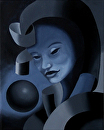 "Untitled Dark Mask #1 Oil Painting by Artist Mark Webster by Mark Webster Oil ~ 10"" x 8"""