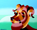 """Futurist Abstract Dog Oil Painting by Artist Mark Webster by Mark Webster Oil ~ 8"""" x 10"""""""