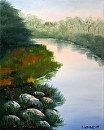 "River Rocks at Sunrise Oil Painting 241 by Artist Mark Webster by Mark Webster Oil ~ 10"" x 8"""