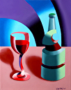 "Mark Webster - Abstract Futurist Wine with Bottle Still Life Painting 1101 by Mark Webster Oil ~ 14"" x 11"""