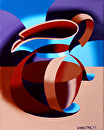 "Futurist Abstract Coffee Pot Oil Painting by Mark Webster Oil ~ 10"" x 8"""