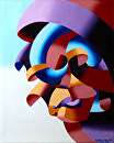 "Futurist Abstract Portrait Oil Painting by Mark Webster Oil ~ 10"" x 8"""