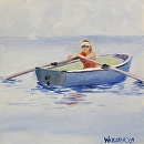 """Rower in Lake Michigan Oil Painting by Northern California Artist Mark Webster by Mark Webster Oil ~ 6"""" x 6"""""""