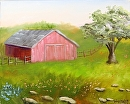"""Barn with Oak Tree Oil Painting 239 by Artist Mark Webster by Mark Webster Oil ~ 8"""" x 10"""""""