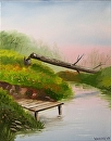 Fallen Tree and Dock on the River Oil Painting by Northern California Artist Mark Webster by Mark Webster Oil ~ 14 x 11