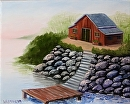 """Cabin and Dock by the Lake Oil Painting 238 by Artist Mark Webster by Mark Webster Oil ~ 8"""" x 10"""""""