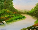 """Bend in the River at Sunset Oil Painting 235 by Artist Mark Webster by Mark Webster Oil ~ 8"""" x 10"""""""