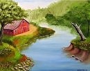 Barn in the Foothills by the River Oil Painting 235 by Artist Mark Webster by Mark Webster Oil ~ 8 x 10