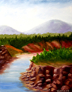 Mark Webster - River with Rocky Cliffs Landscape Oil Painting by Mark Webster Oil ~ 14 x 11