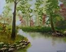 "Misty River Oil Painting 233 by Artist Mark Webster by Mark Webster Oil ~ 11"" x 14"""