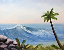"Hawaiian Cost Wave and Palm Tree Oil Painting by Northern California Artist Mark Webster by Mark Webster Oil ~ 11"" x 14"""