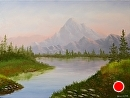 "Misty Mountain Lake 18x24"" Oil Painting by Northern California Artist Mark Webster by Mark Webster Oil ~ 18"" x 24"""