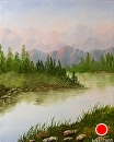 Mountain River Retreat Oil Painting by Artist Mark Webster by Mark Webster Oil ~ 10 x 8