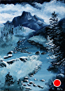 "Banner Peak Oil Painting - Midnight Oil Series by Artist Mark Webster by Mark Webster Oil ~ 7"" x 5"""