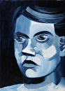 "Abstract Portrait Oil Painting - Midnight Oil Series by Northern California Artist Mark Webster by Mark Webster Oil ~ 7"" x 5"""
