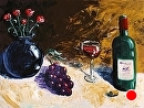 """Mark Webster - Wine Flowers and Grapes Acrylic Still Life Acrylic Painting by Mark Webster Acrylic ~ 30"""" x 40"""""""