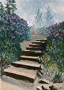 "Stairs in the Flower Garden Oil Painting by Artist Mark Webster by Mark Webster Oil ~ 7"" x 5"""