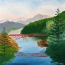 """Foothill River with Bridge Oil Painting by Artist Mark Webster by Mark Webster Oil ~ 8"""" x 8"""""""
