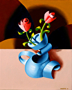 "Mark Webster - Abstract Futurist Roses in Vase Oil Painting by Mark Webster Oil ~ 10"" x 8"""