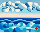 """Abstract Ocean Oil Painting - Futurism - Original Oil Painting by Northern California Artist Mark Webster by Mark Webster Oil ~ 16"""" x 20"""""""