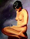 Nude Figurative Oil Painting - Katja 227.6 - Painting by Northern California Artist Mark Webster by Mark Webster  ~ 30 x -