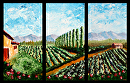 """Abstract California Vineyard Palette Knife Acrylic Painting Triptych by Artist Mark Webster by Mark Webster Acrylic ~ 30"""" x 45"""""""