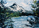 "Daily Painters Blog - Mt. Hood Palette Knife Oil Painting by Northern California Artist Mark Webster by Mark Webster Oil ~ 5"" x 7"""