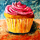 "Giant Cupcake Acrylic Palette Knife Painting by Northern California Artist Mark Webster by Mark Webster Acrylic ~ 36"" x 36"""