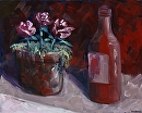 "Beer and Flowers Still Life Oil Painting by Northern California Artist Mark Webster by Mark Webster Oil ~ 8"" x 10"""