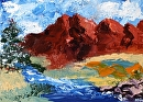 "Mountain River Palette Knife Oil Painting 7/29/10 by Northern California Artist Mark Webster by Mark Webster Oil ~ 5"" x 7"""