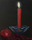 "Candle with Apple Oil Painting by Northern California Artist Mark Webster by Mark Webster Oil ~ 10"" x 8"""
