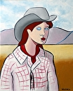 "Abstract Cowgirl Oil Painting by Northern California Artist Mark Webster by Mark Webster Oil ~ 10"" x 8"""