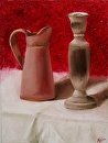 "Still Life Painting with Candlestick and Pitcher - Original Oil Painting by Artist Mark Webster by Mark Webster Oil ~ 16"" x 12"""